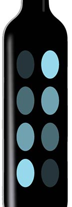 Glass bottle with overprint of blue halftones