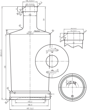 Custom bottle specification line drawing