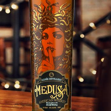 Screen printed Applied Ceramic Label for Cadee Distillery Medusa Select Reserve American Whiskey Spirits Bottle
